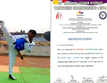 33rd National Senior Taekwondo Championship, on 03 - 05 Sep 2014