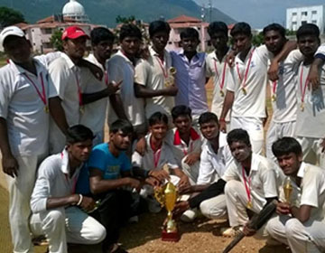 Winners in the Inter Collegiate Cricket tournament held at VMKVMC, Salem,<br> on 26 Sep 2014