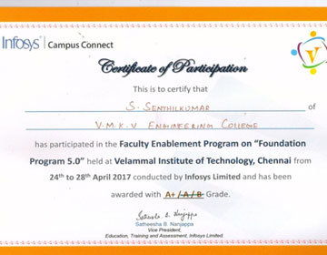 "Mr. S. SenthilKumar, CSE Dept has attended the Deep Dive Faculty Enablement Programme (DDFEP) on ""Foundation Programme 5.0 at Velammal Institute of Technology, Chennai from 24 - 28 Apr 2017"