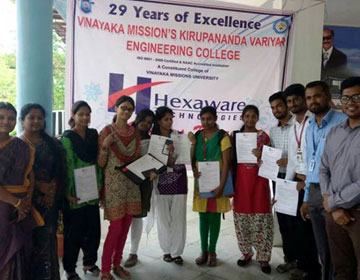 Students Placed at Hexaware Campus Placement Drive, organized by Dept of CSE, ECE, Mech, on 29 Apr 2017