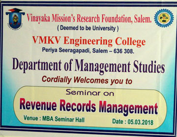 One Day Seminar on Revenue & Records Management for Real Estate Promoters, on 05 Mar 2018