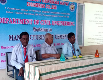 "Workshop on ""Manufacturing of Cements"", conducted by Dept of Civil, on 16 Apr 2018"