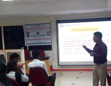 "Dr.J.PrakashMaran, Associate professor, Department of Food and Nutrition, Periyar University giving lecture on ""Statistical Optimization Techniques in Food Technology"""