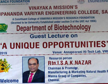 "One day Guest Lecture on ""A Unique Opportunities"", organized by Dept of Biotechnology, on 27 Jun 2019"