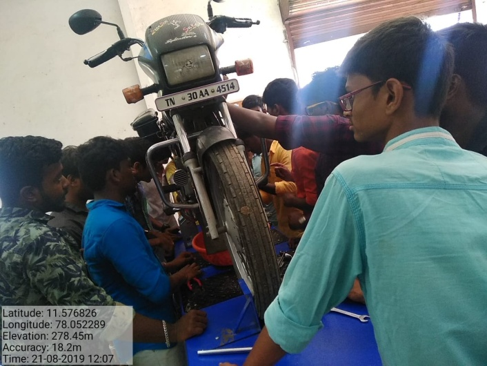 "One Day Skill Development Program – Hands on Training ""Two Wheeler Servicing"", on 21 Aug 2019"