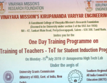 One Day Training Programme on Training of Teachers - ToT for Student Induction Program - SIP, on 15 Jul 2019