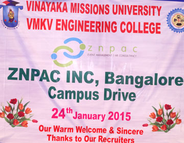 Placement Drive,  on 24 Jan 2015 by  Znpac INC, Bangalore