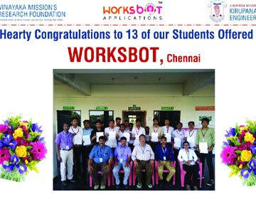 Placement drive by WorksBot, Chennai, on 20 Feb 2020